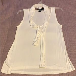 NWOT Polly & Esther White Tank Top with Neck Tie